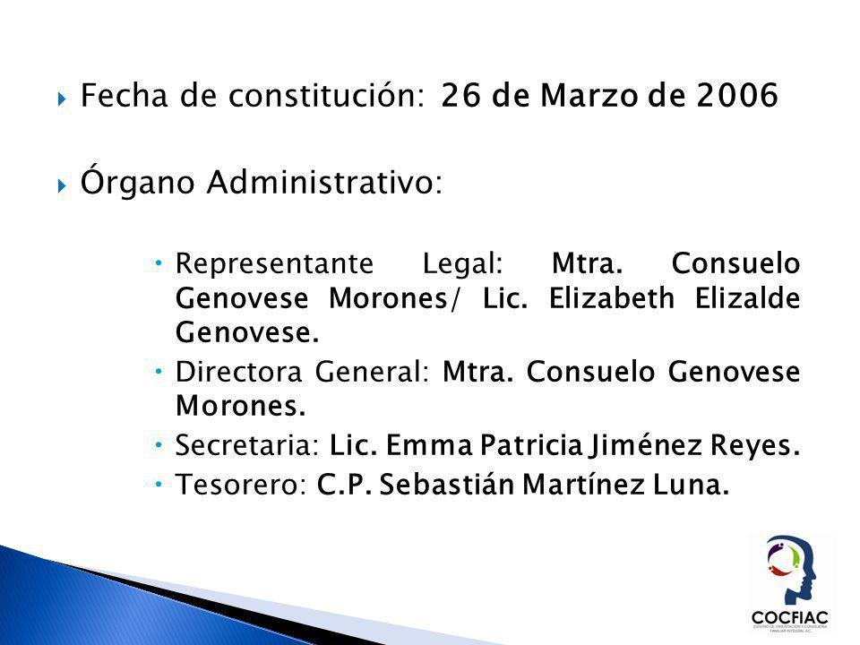 Fecha de constitución: 26 de Marzo de 2006 Órgano Administrativo: