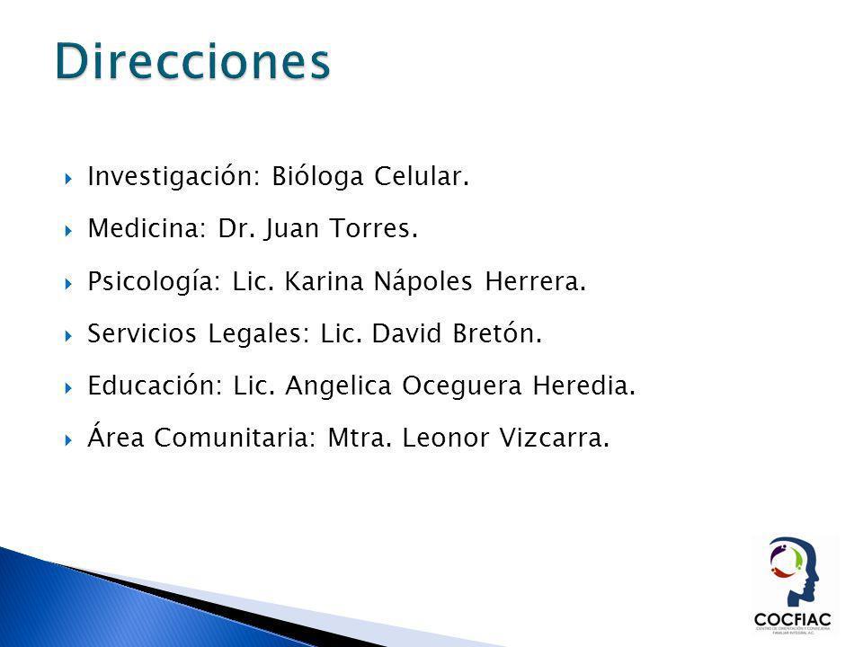 Direcciones Investigación: Bióloga Celular. Medicina: Dr. Juan Torres.