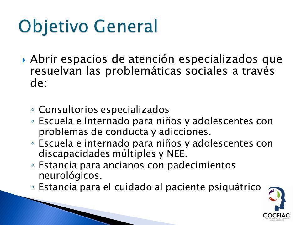 Objetivo General Abrir espacios de atención especializados que resuelvan las problemáticas sociales a través de: