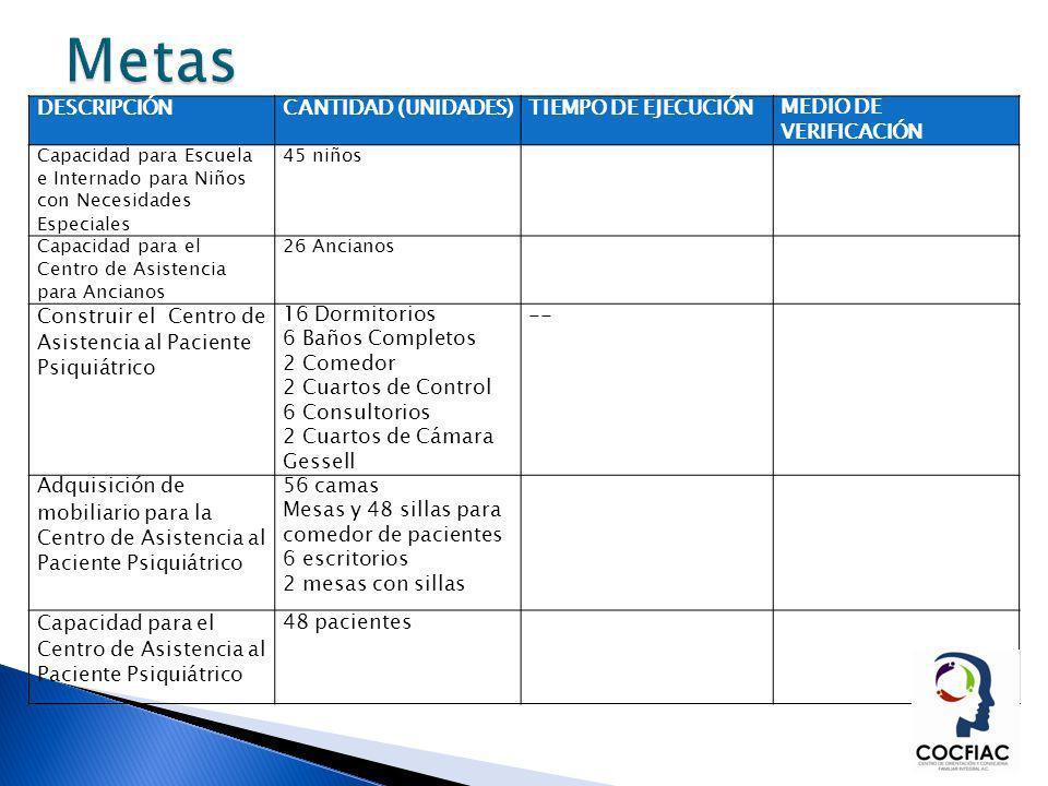 Metas DESCRIPCIÓN CANTIDAD (UNIDADES) TIEMPO DE EJECUCIÓN