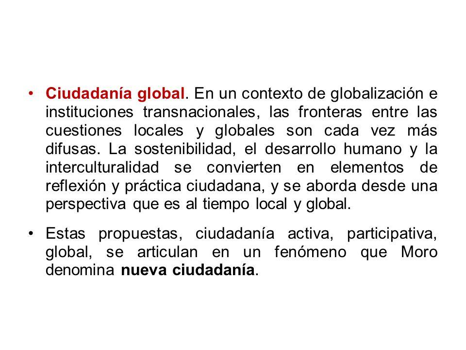 Ciudadanía global. En un contexto de globalización e instituciones transnacionales, las fronteras entre las cuestiones locales y globales son cada vez más difusas. La sostenibilidad, el desarrollo humano y la interculturalidad se convierten en elementos de reflexión y práctica ciudadana, y se aborda desde una perspectiva que es al tiempo local y global.