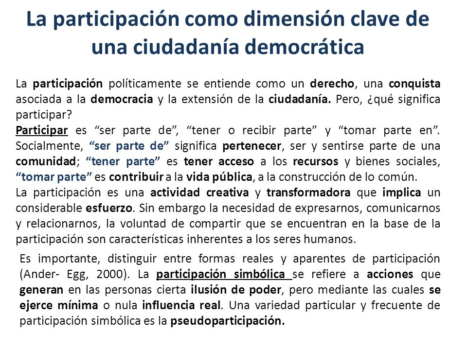 La participación como dimensión clave de una ciudadanía democrática