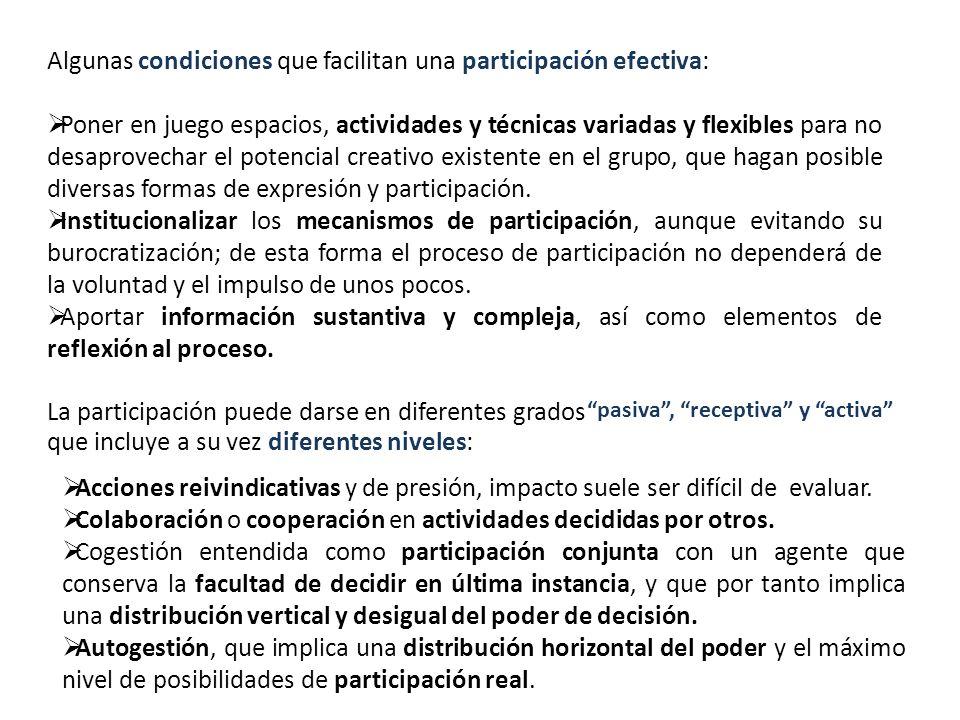 Algunas condiciones que facilitan una participación efectiva: