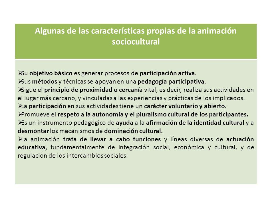 Algunas de las características propias de la animación sociocultural