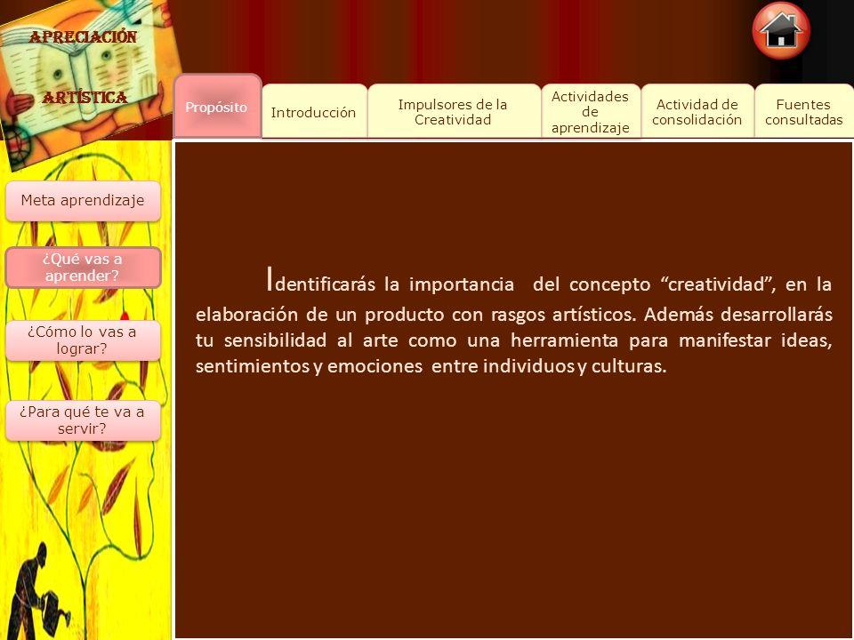APRECIACIÓN ARTÍSTICA. Propósito. Introducción. Impulsores de la Creatividad. Actividades de aprendizaje.