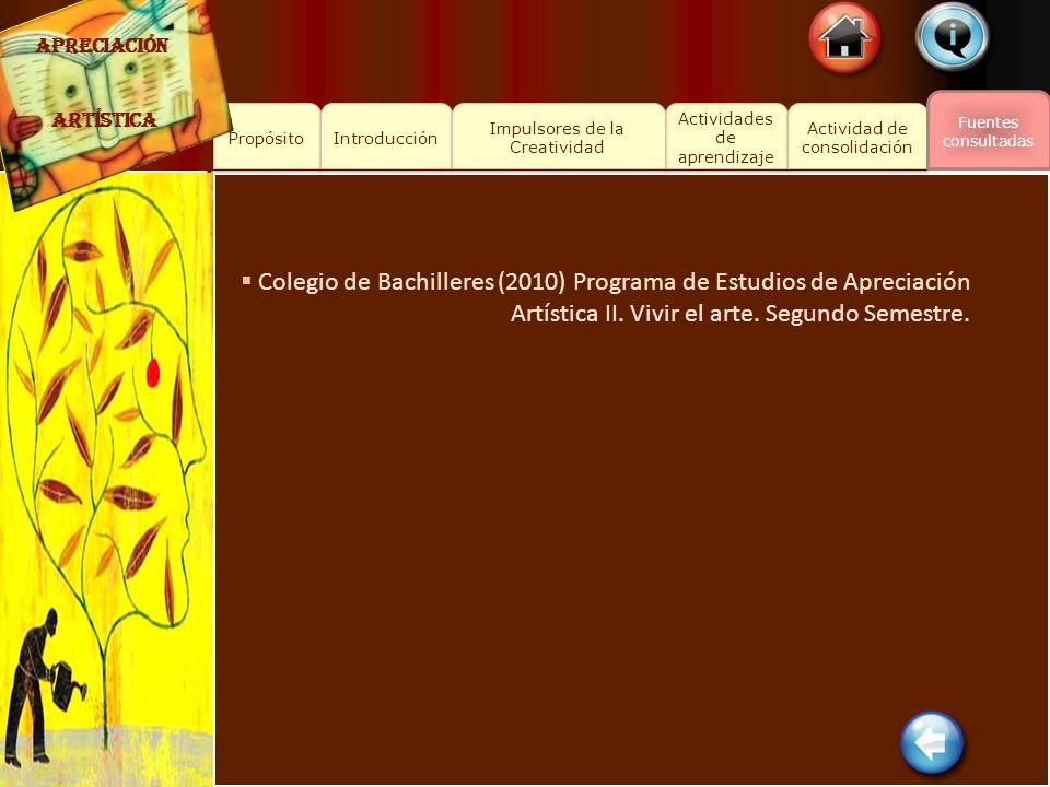 Colegio de Bachilleres (2010) Programa de Estudios de Apreciación
