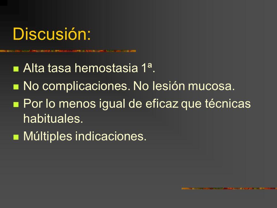 Discusión: Alta tasa hemostasia 1ª.