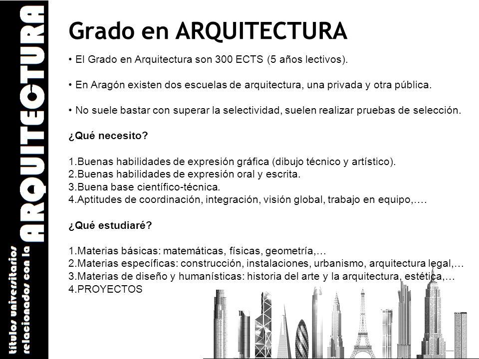 Grado en ARQUITECTURA El Grado en Arquitectura son 300 ECTS (5 años lectivos).