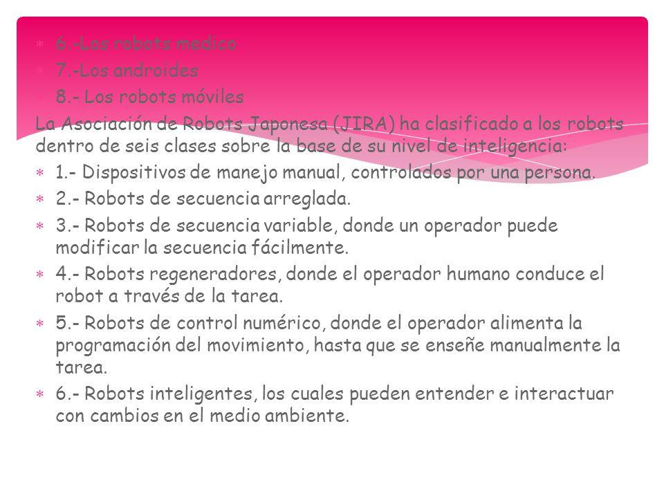 6.-Los robots medico 7.-Los androides 8.- Los robots móviles