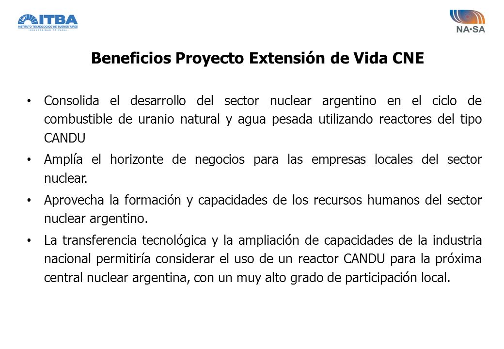 Beneficios Proyecto Extensión de Vida CNE