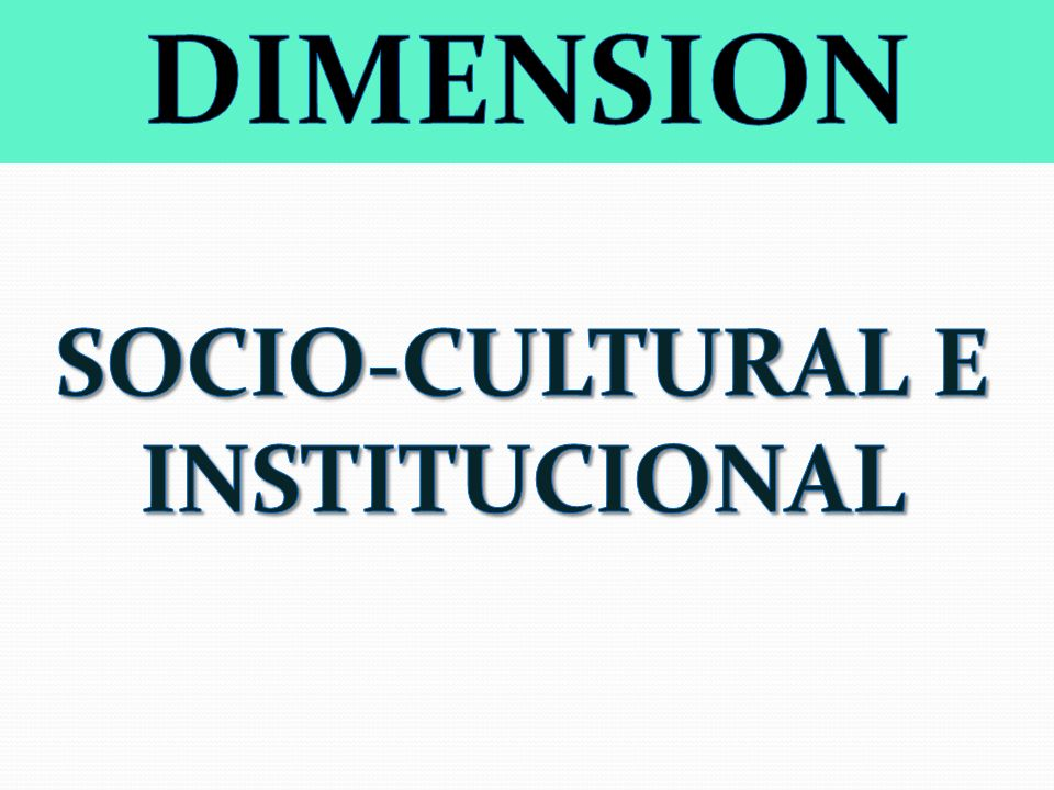 SOCIO-CULTURAL E INSTITUCIONAL