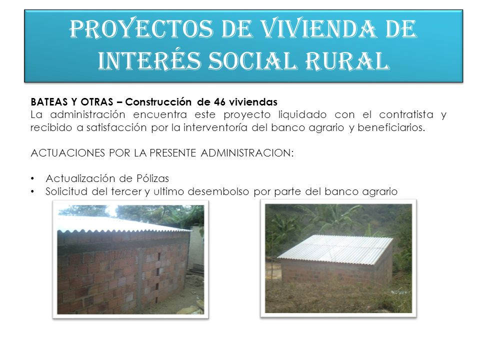 Proyectos de vivienda de interés social rural