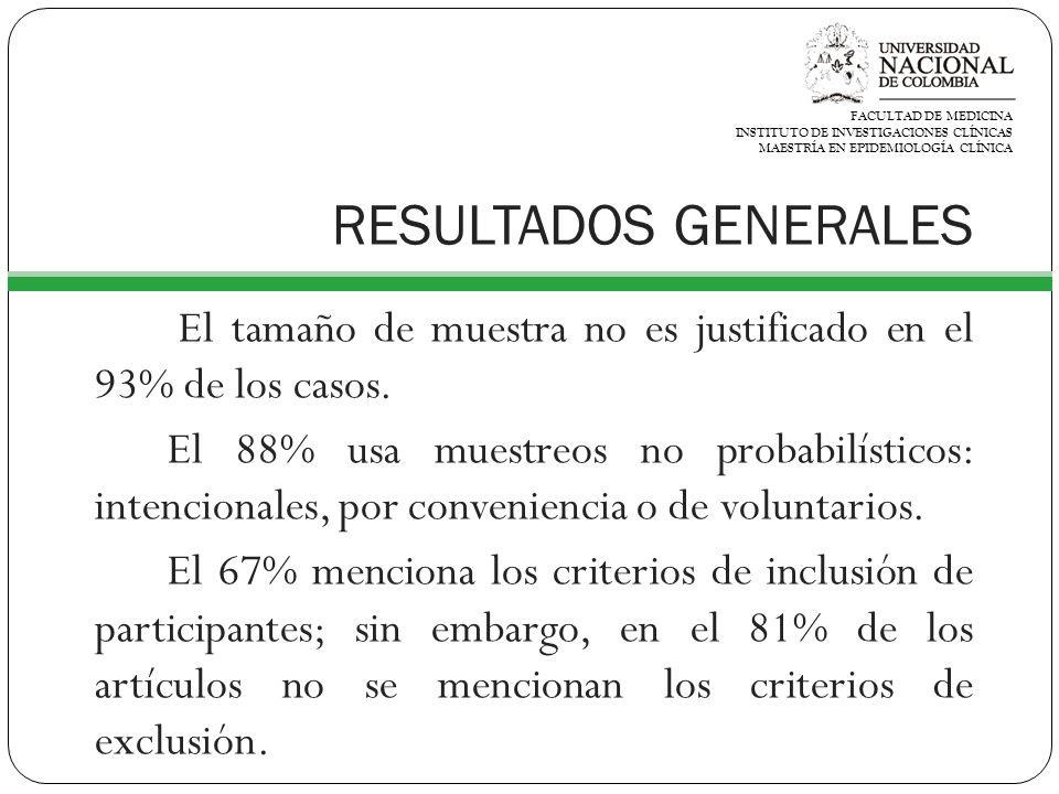 FACULTAD DE MEDICINA INSTITUTO DE INVESTIGACIONES CLÍNICAS. MAESTRÍA EN EPIDEMIOLOGÍA CLÍNICA. RESULTADOS GENERALES.