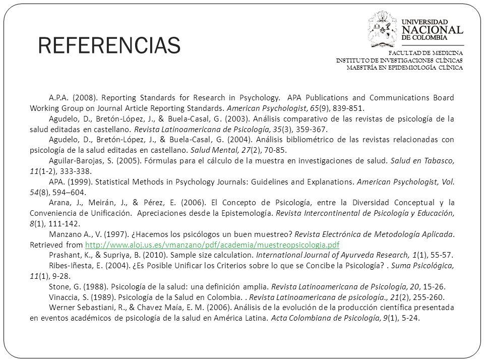 FACULTAD DE MEDICINA INSTITUTO DE INVESTIGACIONES CLÍNICAS. MAESTRÍA EN EPIDEMIOLOGÍA CLÍNICA. REFERENCIAS.