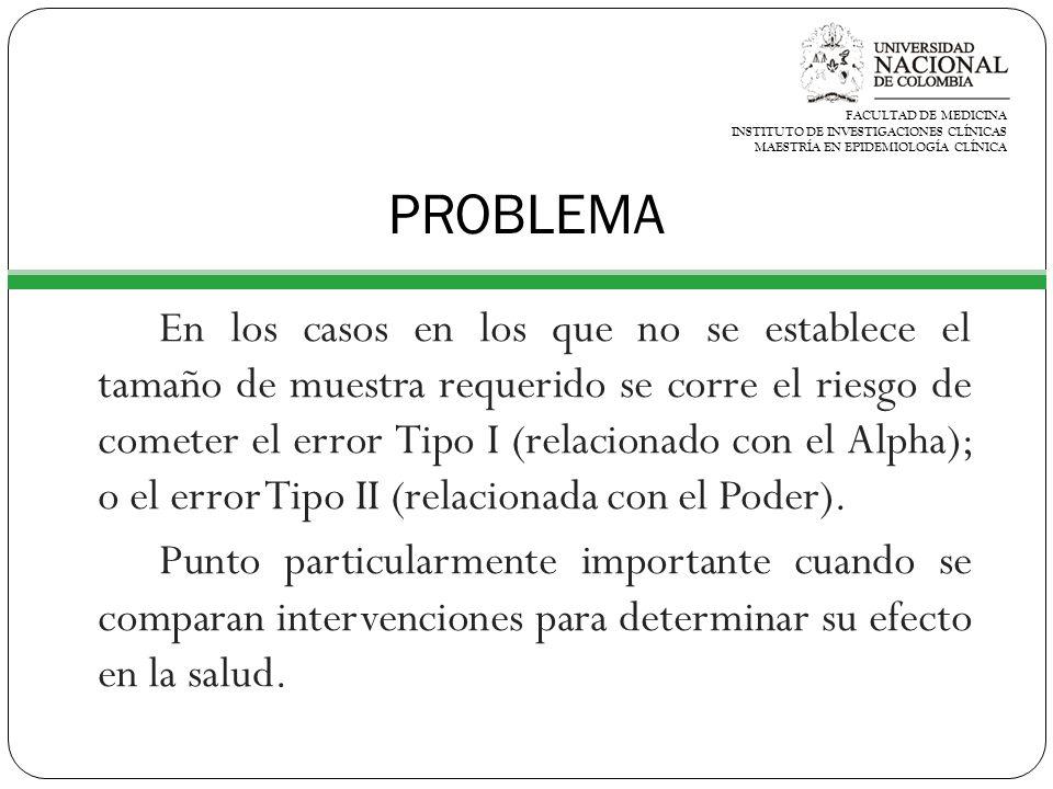 FACULTAD DE MEDICINA INSTITUTO DE INVESTIGACIONES CLÍNICAS. MAESTRÍA EN EPIDEMIOLOGÍA CLÍNICA. PROBLEMA.