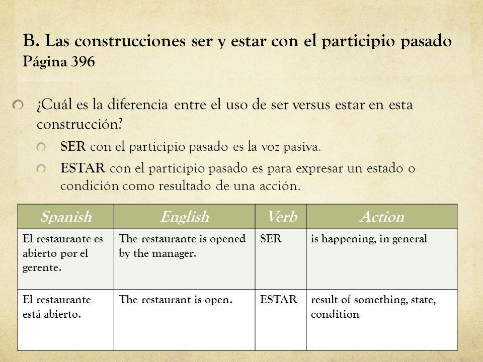 B. Las construcciones ser y estar con el participio pasado Página 396