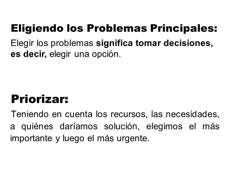Eligiendo los Problemas Principales:
