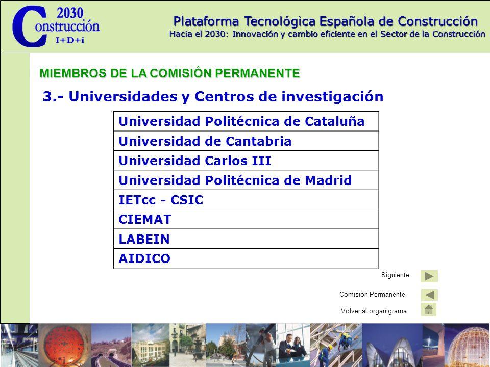 3.- Universidades y Centros de investigación
