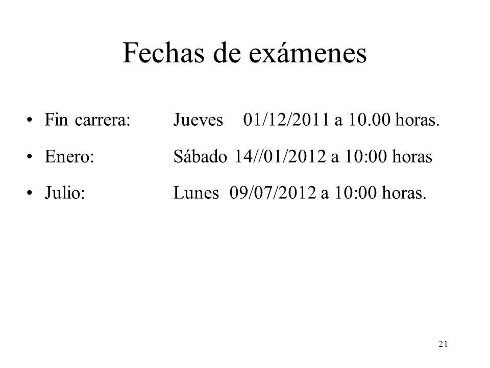 Fechas de exámenes Fin carrera: Jueves 01/12/2011 a 10.00 horas.