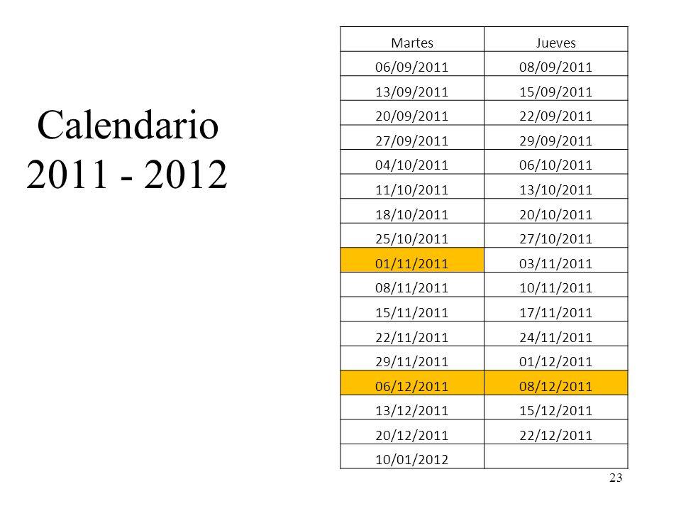 Calendario 2011 - 2012 Martes Jueves 06/09/2011 08/09/2011 13/09/2011
