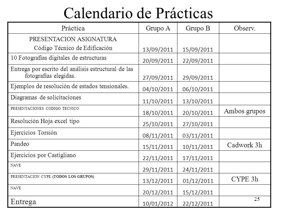 Calendario de Prácticas