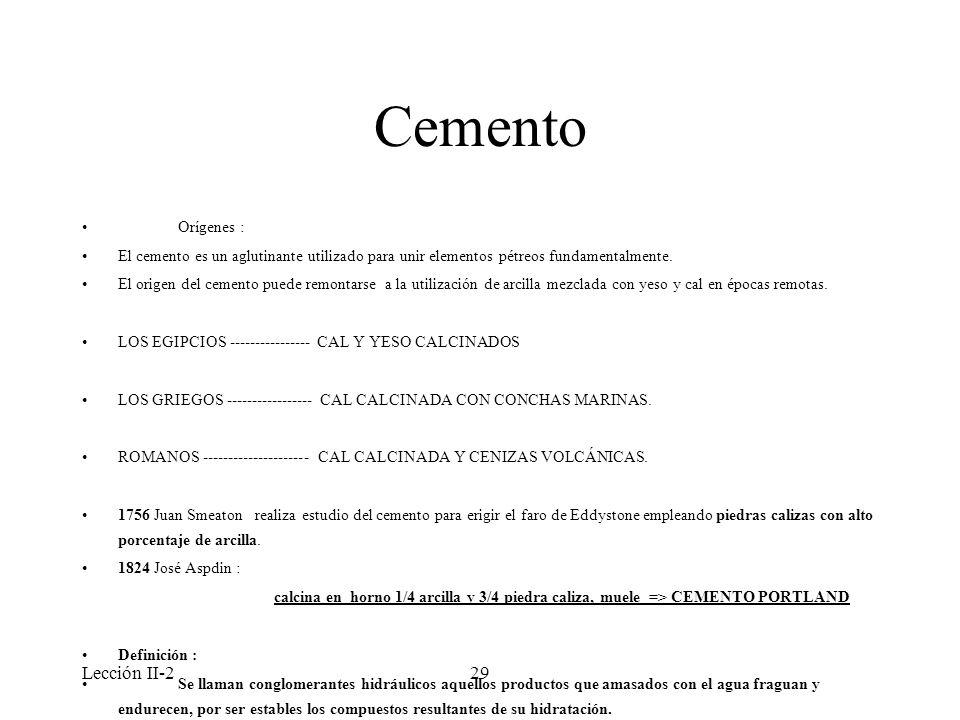 Cemento Lección II-2 Orígenes :