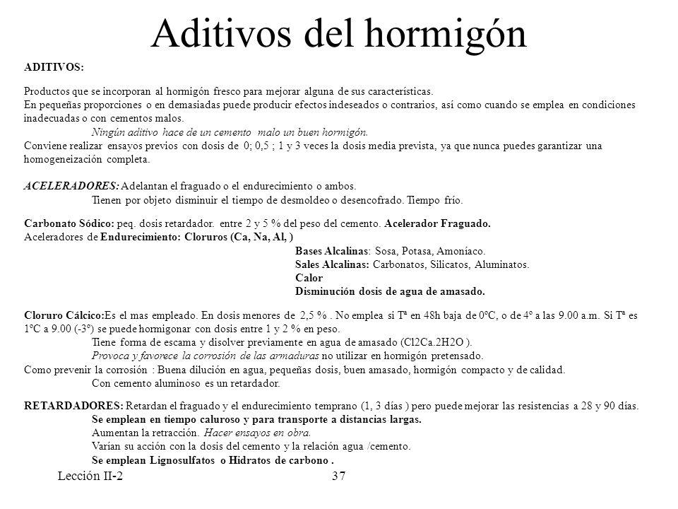 Aditivos del hormigón Lección II-2 ADITIVOS:
