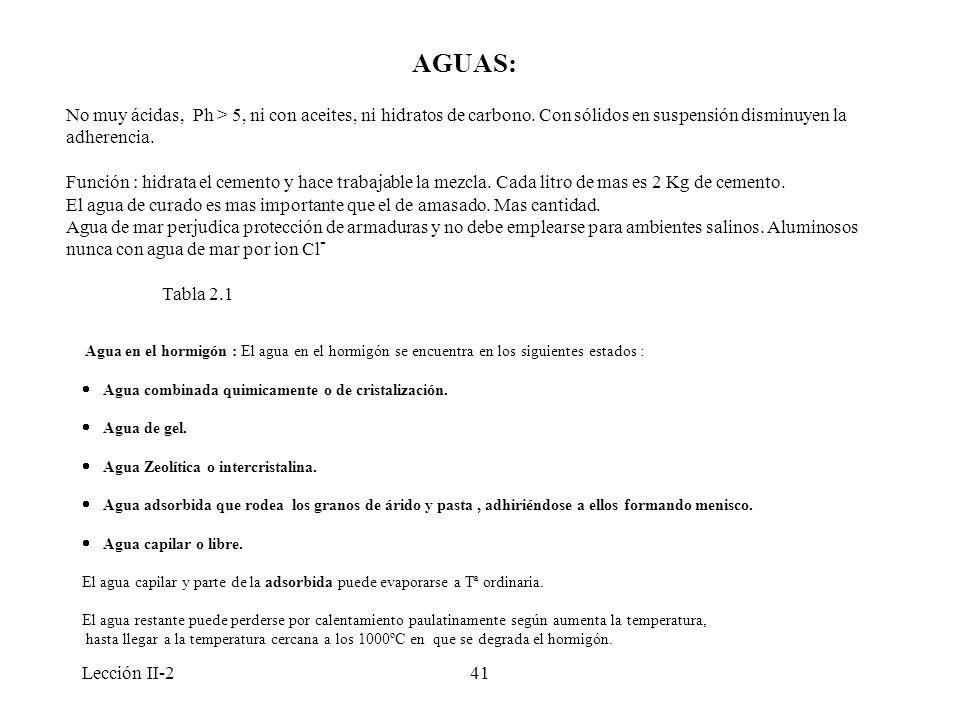 AGUAS: No muy ácidas, Ph > 5, ni con aceites, ni hidratos de carbono. Con sólidos en suspensión disminuyen la adherencia.