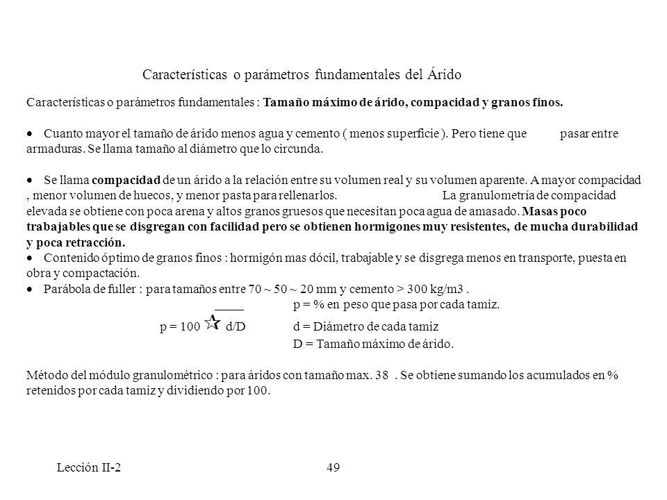 Características o parámetros fundamentales del Árido