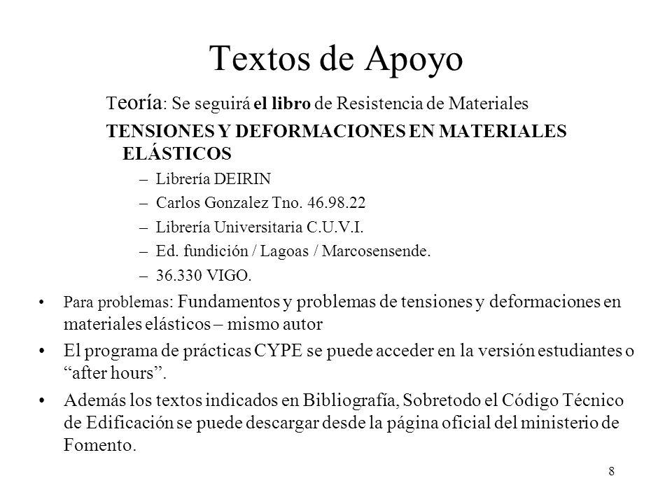 Textos de Apoyo Teoría: Se seguirá el libro de Resistencia de Materiales. TENSIONES Y DEFORMACIONES EN MATERIALES ELÁSTICOS.