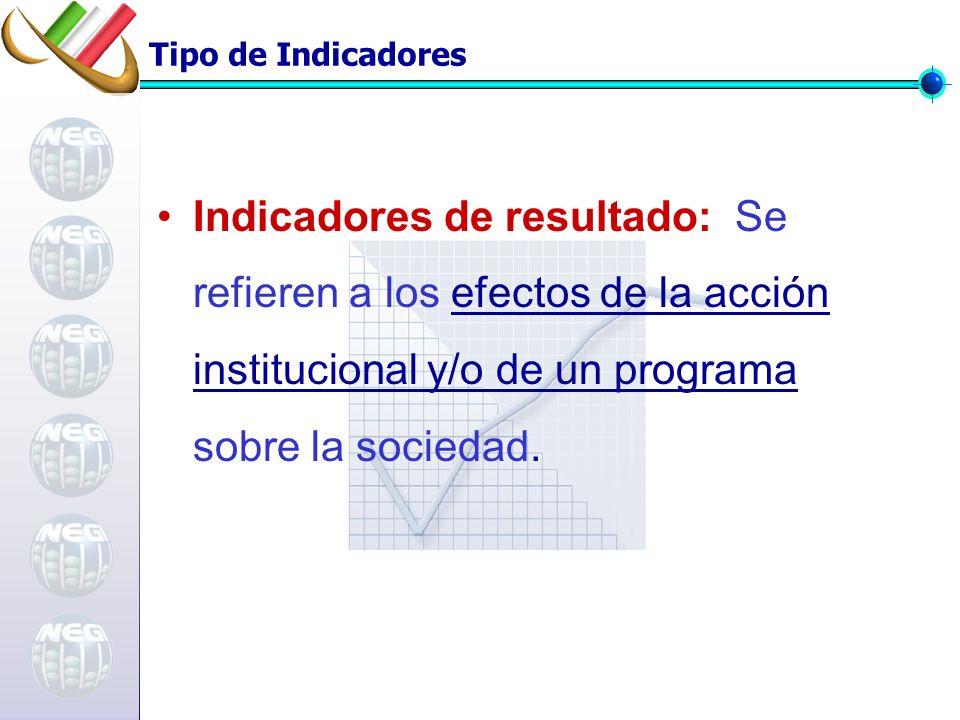 Tipo de Indicadores Indicadores de resultado: Se refieren a los efectos de la acción institucional y/o de un programa sobre la sociedad.