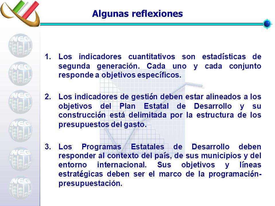 Algunas reflexiones Los indicadores cuantitativos son estadísticas de segunda generación. Cada uno y cada conjunto responde a objetivos específicos.
