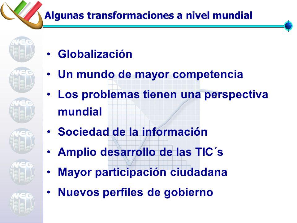 Algunas transformaciones a nivel mundial