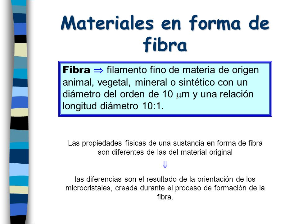 Materiales en forma de fibra