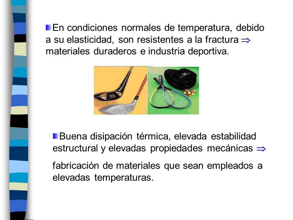 En condiciones normales de temperatura, debido a su elasticidad, son resistentes a la fractura  materiales duraderos e industria deportiva.