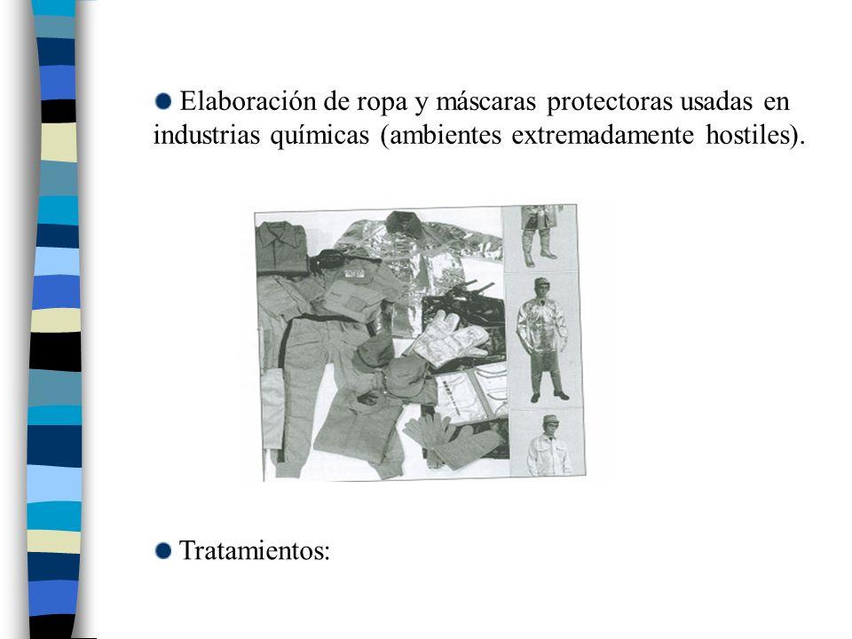 Elaboración de ropa y máscaras protectoras usadas en industrias químicas (ambientes extremadamente hostiles).