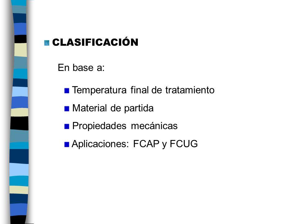 CLASIFICACIÓN En base a: Temperatura final de tratamiento. Material de partida. Propiedades mecánicas.