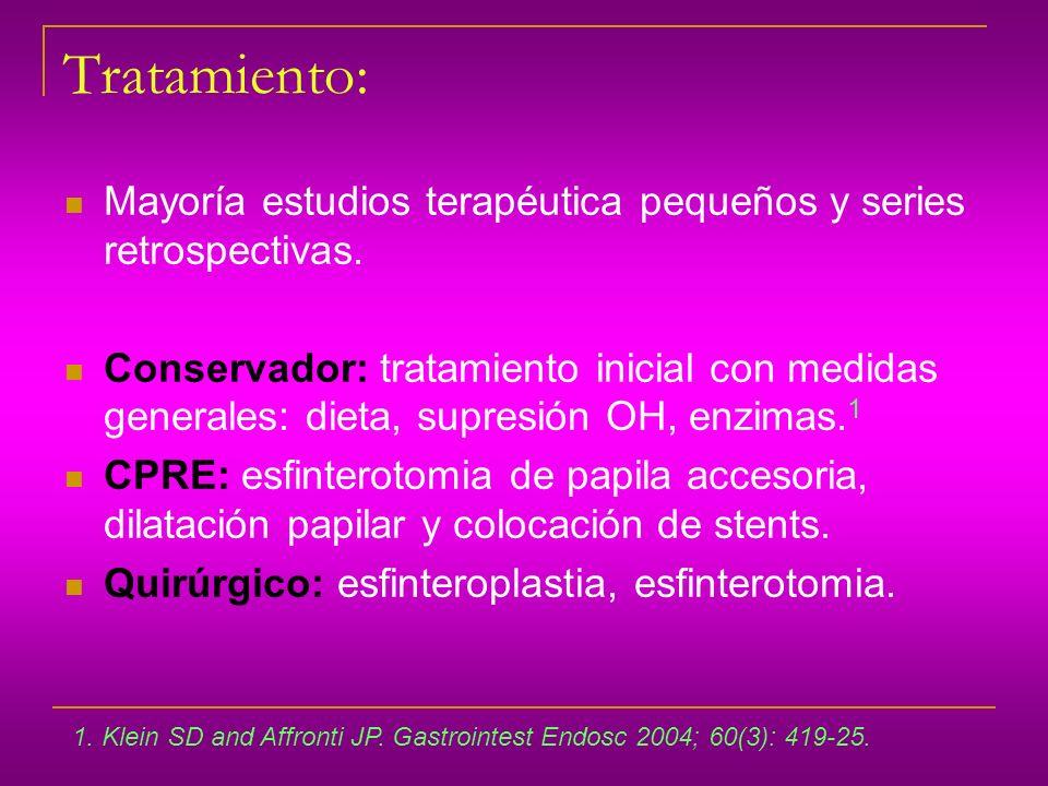 Tratamiento: Mayoría estudios terapéutica pequeños y series retrospectivas.