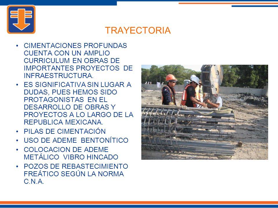 TRAYECTORIA CIMENTACIONES PROFUNDAS CUENTA CON UN AMPLIO CURRICULUM EN OBRAS DE IMPORTANTES PROYECTOS DE INFRAESTRUCTURA.