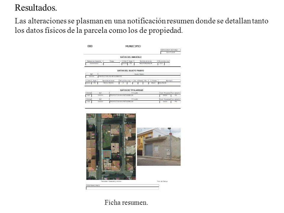 Resultados. Las alteraciones se plasman en una notificación resumen donde se detallan tanto los datos físicos de la parcela como los de propiedad.