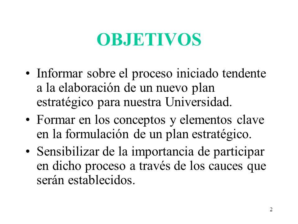 OBJETIVOS Informar sobre el proceso iniciado tendente a la elaboración de un nuevo plan estratégico para nuestra Universidad.
