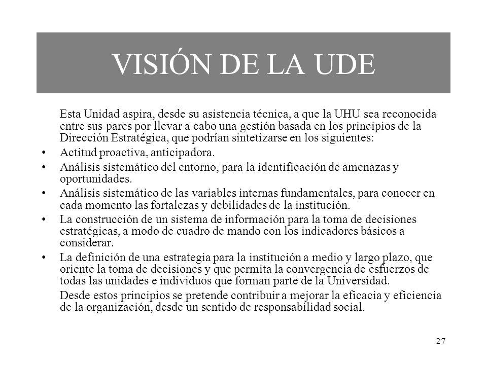 VISIÓN DE LA UDE