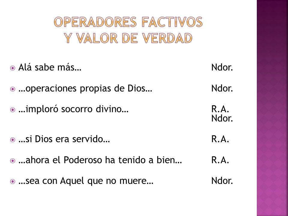 Operadores factivos y valor de verdad