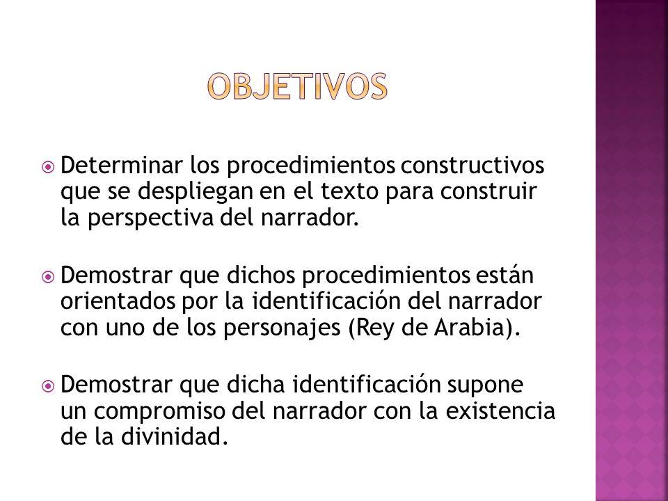 Objetivos Determinar los procedimientos constructivos que se despliegan en el texto para construir la perspectiva del narrador.