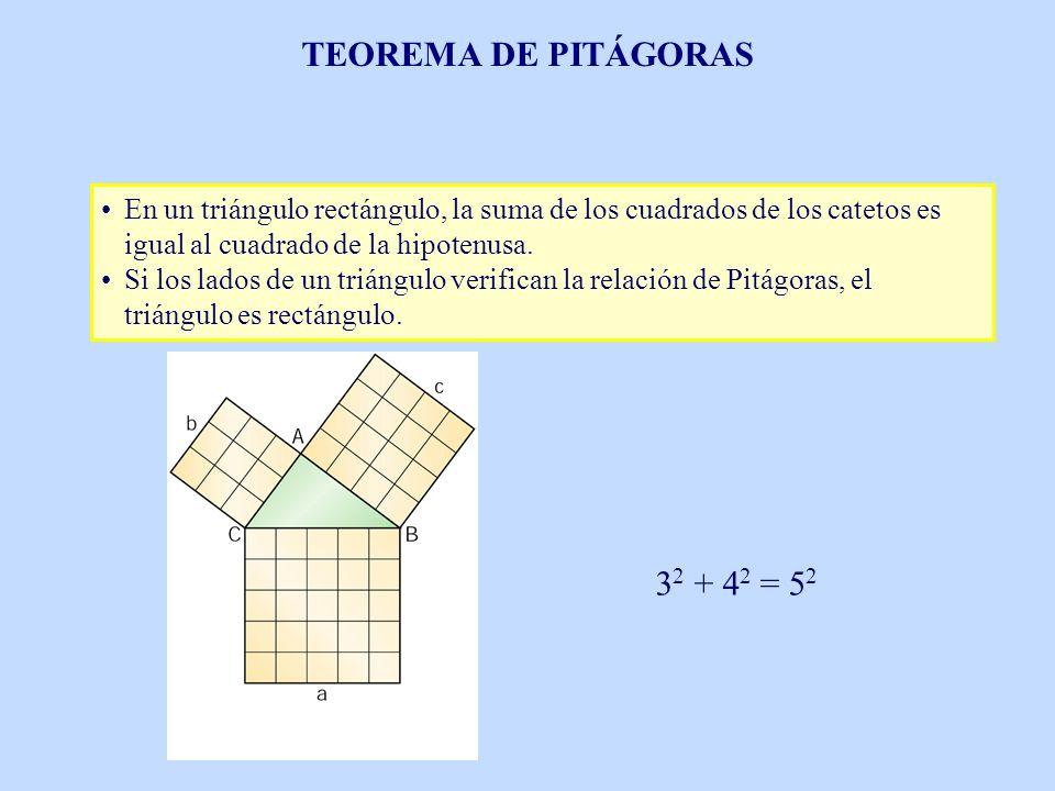 TEOREMA DE PITÁGORAS 32 + 42 = 52