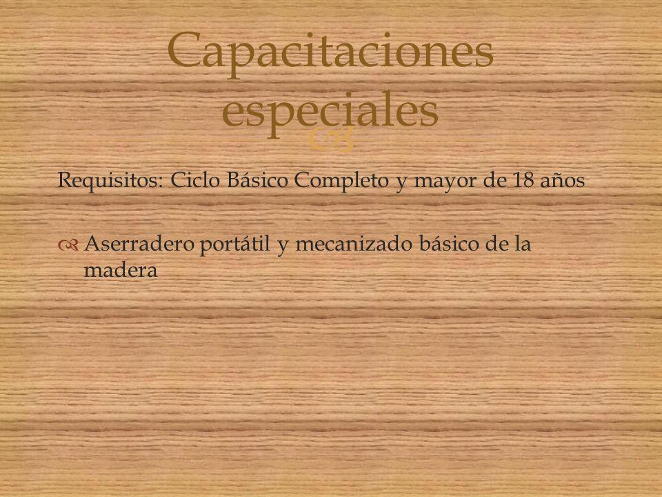 Capacitaciones especiales