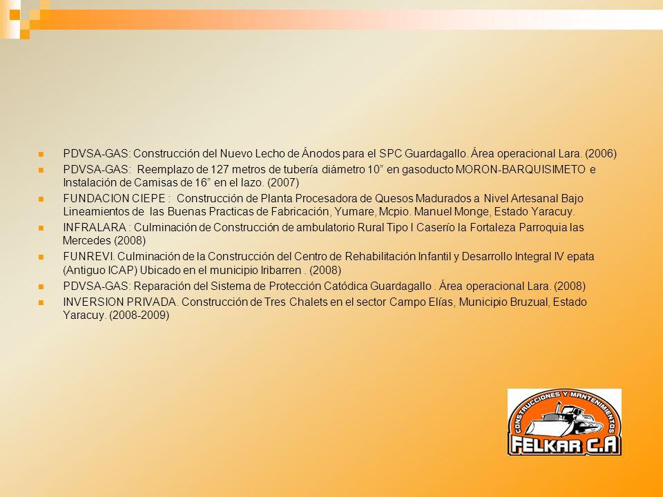 PDVSA-GAS: Construcción del Nuevo Lecho de Ánodos para el SPC Guardagallo. Área operacional Lara. (2006)