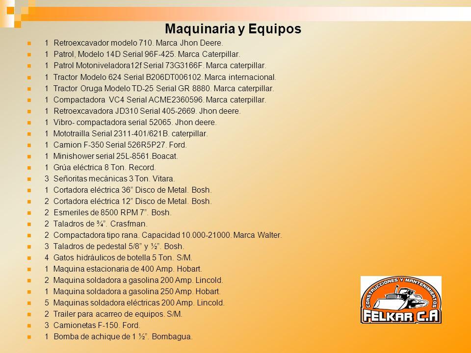 Maquinaria y Equipos 1 Retroexcavador modelo 710. Marca Jhon Deere.