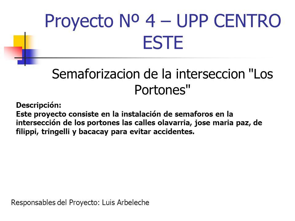 Proyecto Nº 4 – UPP CENTRO ESTE