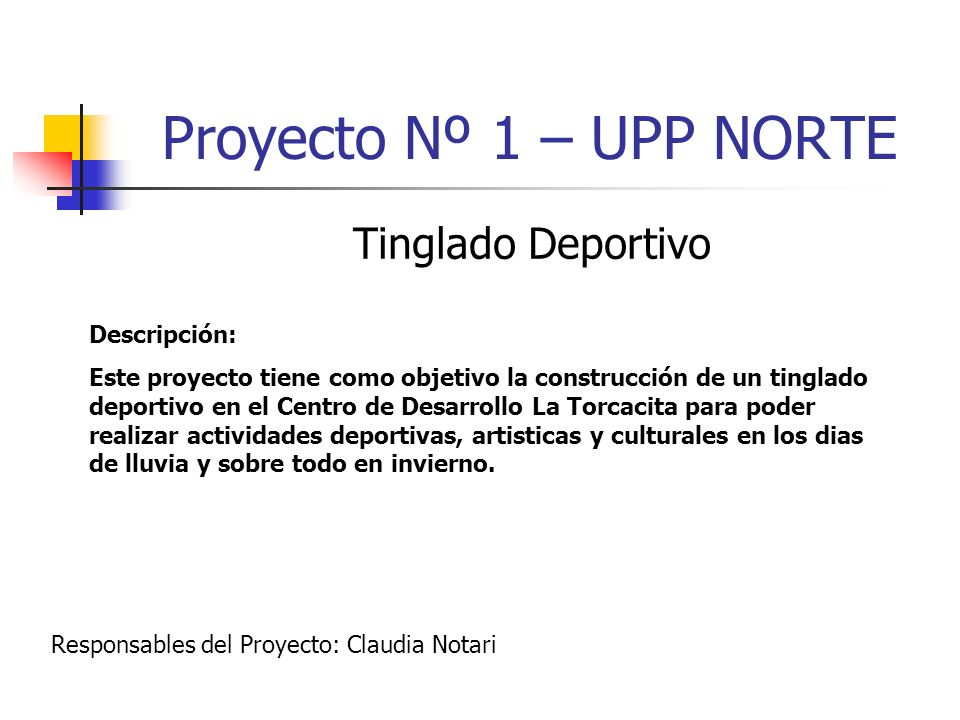 Proyecto Nº 1 – UPP NORTE Tinglado Deportivo Descripción: